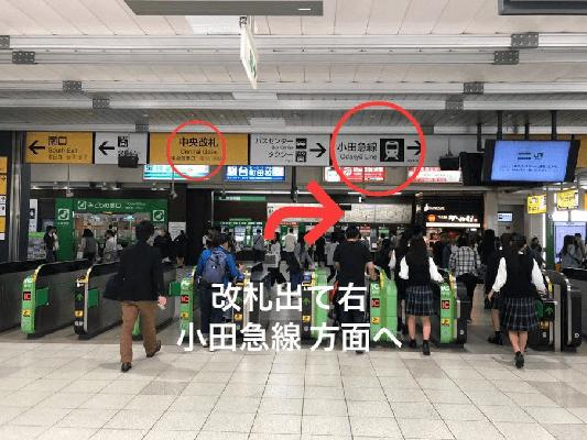 JR町田駅の{red}中央改札{/red}を出て右に進みます。
