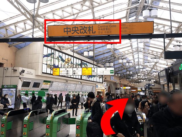 JR上野駅「中央改札」を出てまっすぐ進みます。