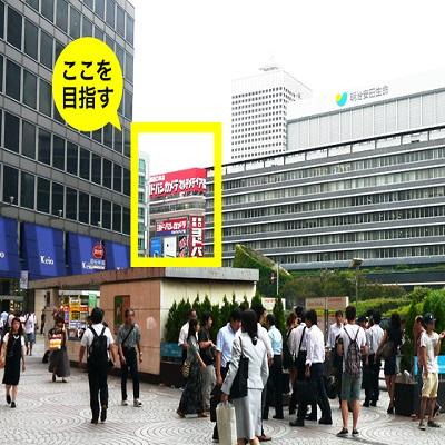 {red}新宿駅西口から「ヨドバシカメラ」の方向{/red}へ進んでください。