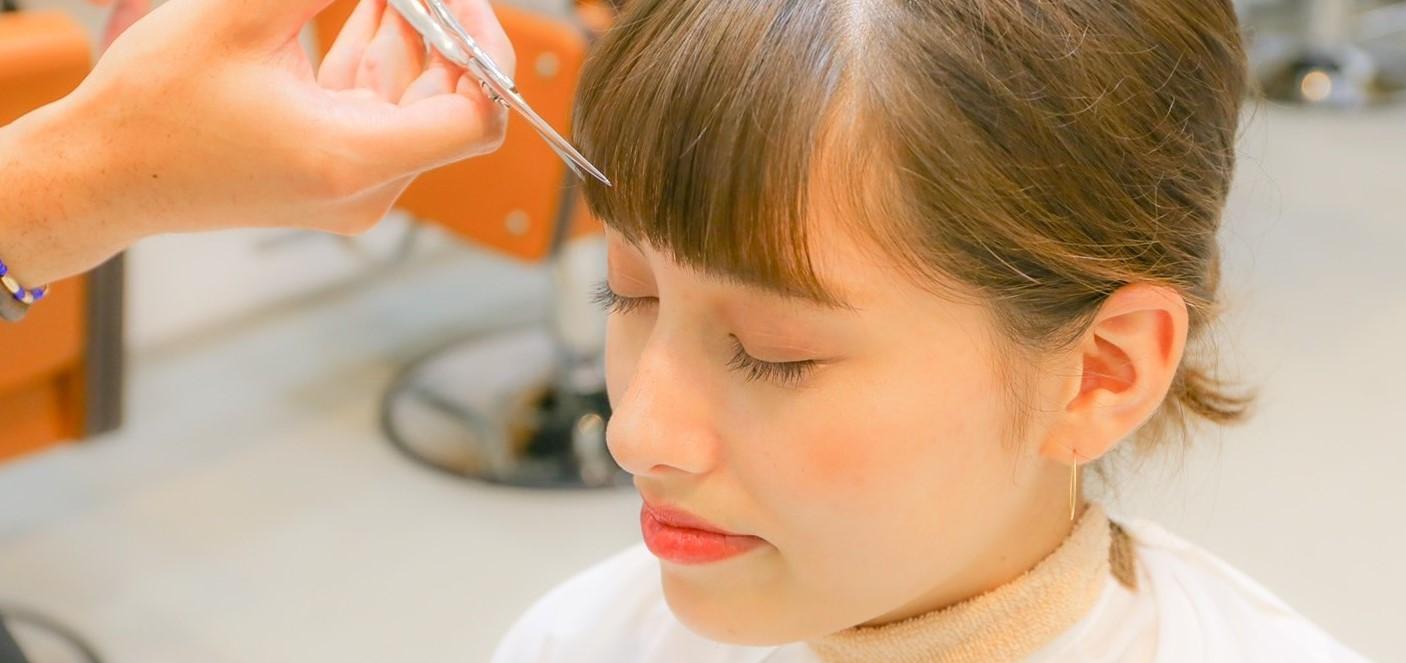 女の子の前髪